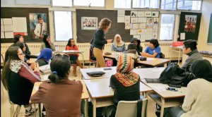 EJS Clinic Student Netta Untershats leading a group discussion on community perspectives in environmental decision-making with Grade 10 Students at C.W. Jeffrys High School