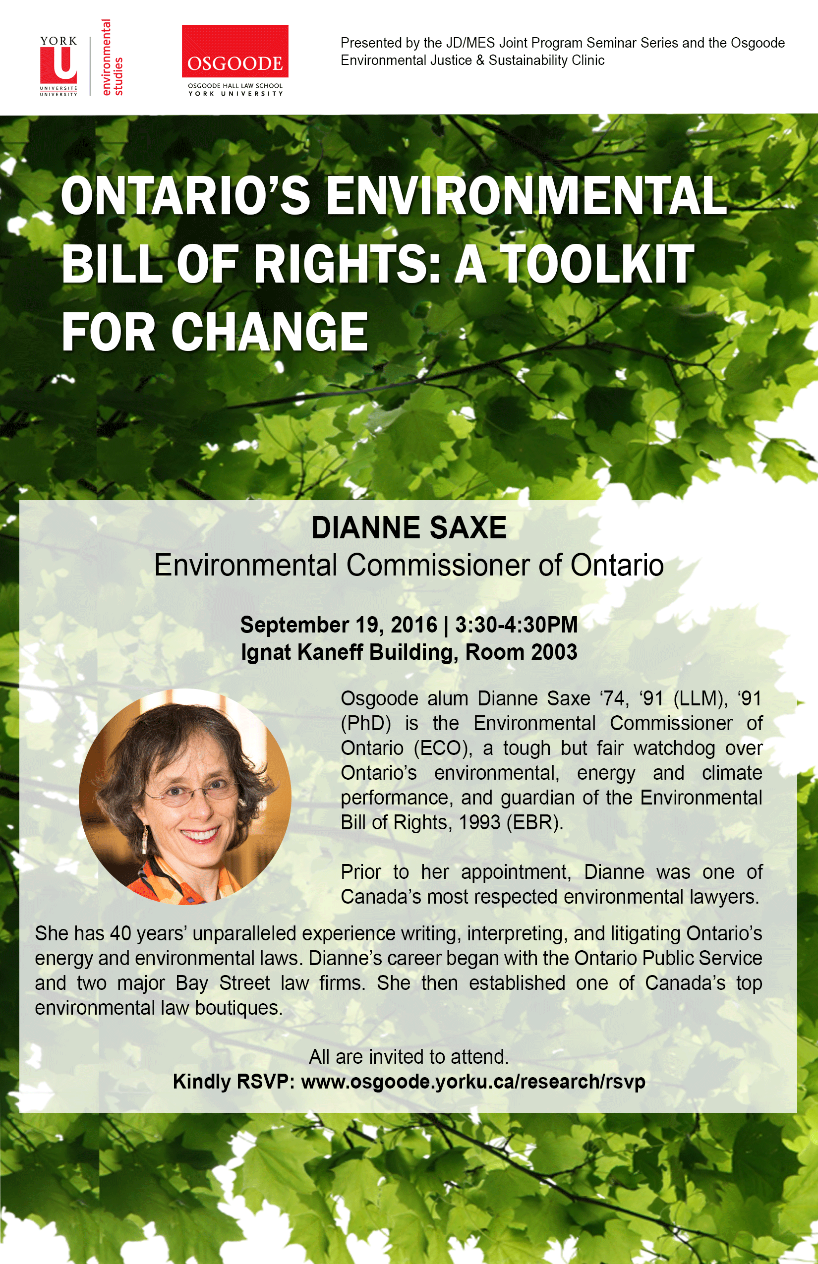 Dianne Saxe Event Poster