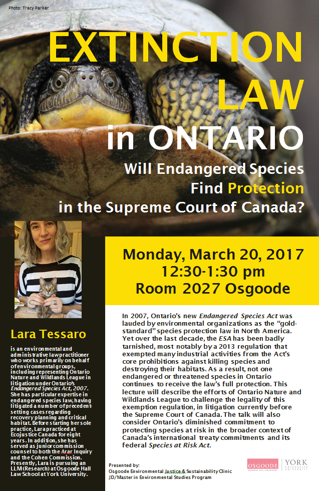 """Poster for Lara Tessaro Lecture """"Extinction Law in Ontario"""" March 20 2017"""
